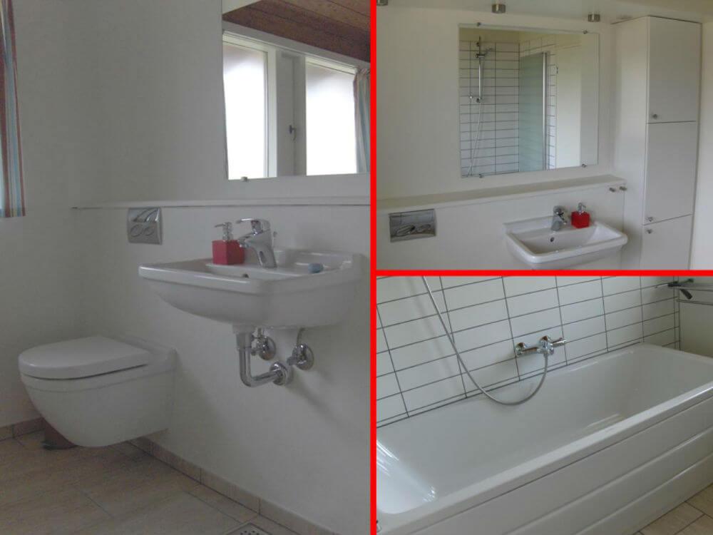 Badeværelse med stort og lækkert badekar hvor der også er en bruser i. Behagelig gulvvarme i rummet
