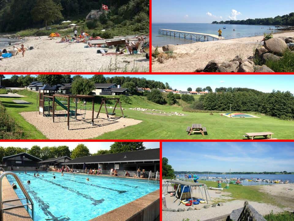 Masser af muligheder i området. Kun 150 meter til enten swimmingpool, badestrand eller legeplads. Alt sammen særdeles børnevenligt