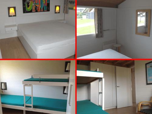 Værelse med dobbeltseng samt værelse med tre senge. Trægulv i begge disse rum. Masser af skabsplads