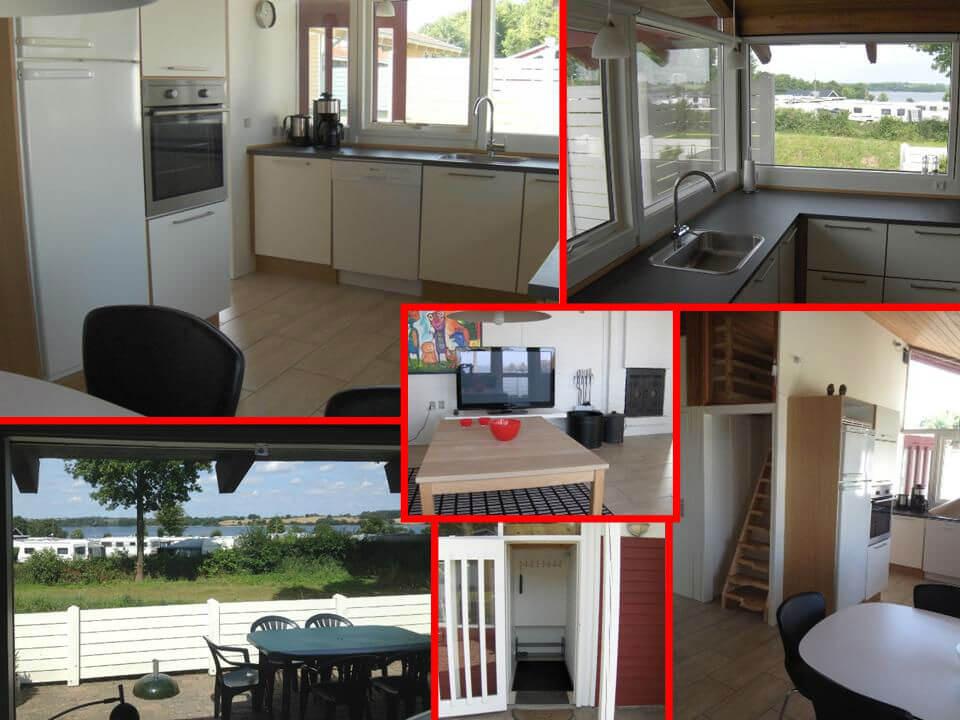Køkken med alt moderne udstyr. Åbent adgang til stuen. Havudsigt fra det ene køkkenvindue.